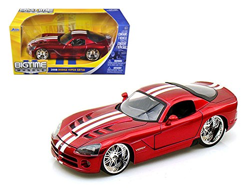 2008 Dodge Viper SRT10 Metallic Red with White Stripes Color Car Diecast 1/24 By Jada
