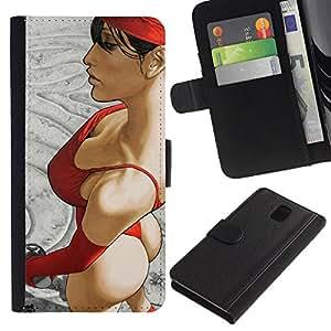 RenCase/funda tipo libro de vista Funda de piel sintética con tarjetero para Samsung Galaxy Note 3 III - Bañador para Thongs onestopdiycom de pollito