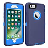 iPhone 6/6S Case Shockproof High Impact Tough Rubber Rugged Hybrid Case Silicone Triple Protective Anti-Shock Shatter-Resistant Mobile Phone Case for iPhone 6/6S 4.7'(Navy Blue)