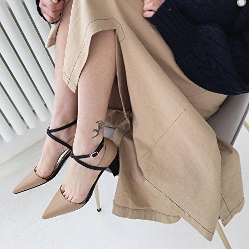 Moda heels Consejos Sandalias AJUNR sugerencia Butt zapatos 35 high y de para 7cm albaricoque ranurado elegante hebilla mujer Transpirable 35 TwqdIAq
