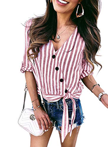 (Asvivid Womens Summer Striped Shirt Wrap V Neck Button Down Roll Up Short Sleeve Tee Loose Work Tunics Fashion Blouses L Red)
