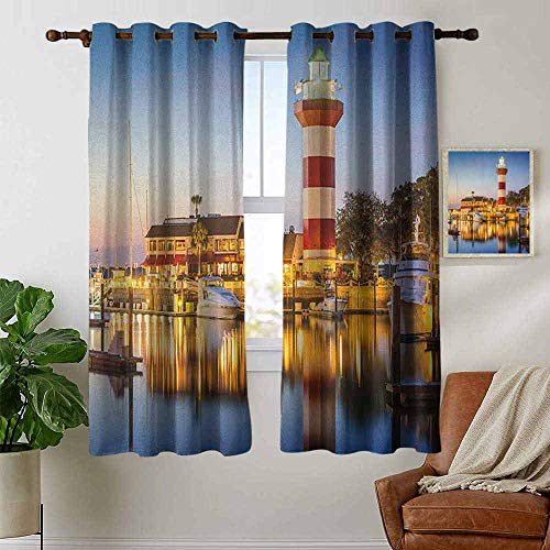South Carolina Printed Curtain - Pattern Curtains United States,Hilton Head South Carolina Lighthouse Twilight Water Reflection Boats Idyllic, Multicolor,Living Room and Bedroom Multicolor Printed Curtain Sets 42