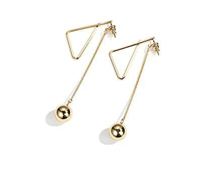 40d09c2d6ea22 Anchilly Gold Triangle Stud Earrings with beads Anchilly Stainless Steel  High polished Drop Dangle Earrings Fashion Elegant Jewelry for Girls and ...