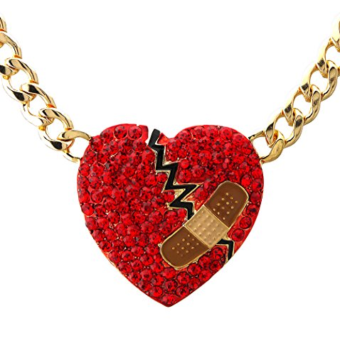 Crystal pave mended heart pendant cuban curb chain necklace Valentines day bandaid heart broken heart (Gold - Red) (Pendant Heart Broken)