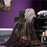 Woodland Custom blanket Wolf Coming out of the Woods Gothic Castle Lake Boat off in Distance all weather blanket Brown Army Green Rose size:50''x60''