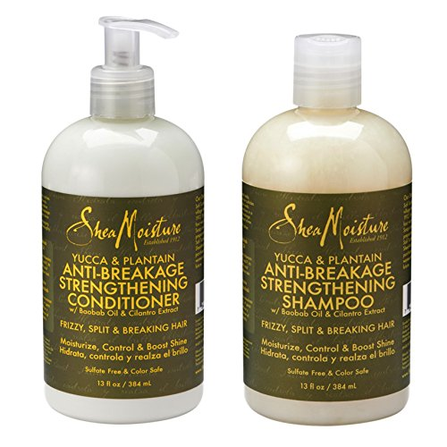 Shea Moisture Yucca and Plantain Anti-Breakage Strengthening Shampoo and Conditioner 13 Once