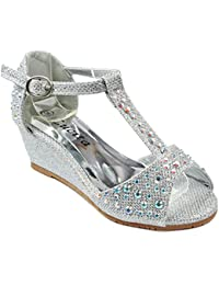 Girls Kids Bling Rhinestone Ankle T-Strap Peep Toe Wedge Heel Dress Sandals