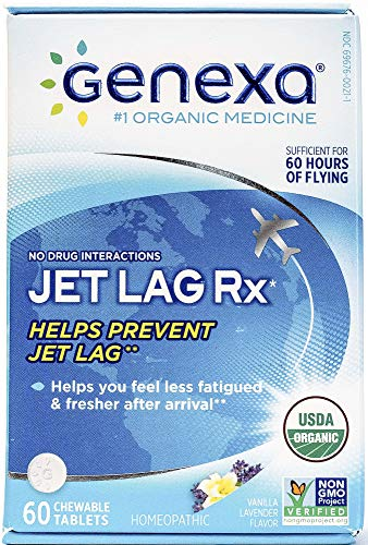 Genexa Jet Lag Homeopathic Relief: Certified Organic, Physician Formulated, Natural, Non-GMO, Jet Lag Flight Fatigue Remedy. Helps You Feel Less Fatigued & Fresher After Arrival (60 Chewable Pills) ()