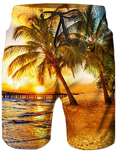 - UNIFACO Mens Shorts Beach Yellow Hawaiian Palm Tree Printed Swim Trunks Beach Shorts Tropical Style with Pockets Mesh Lining S