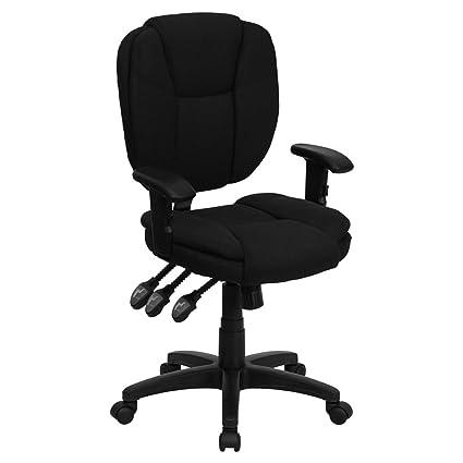 amazon com flash furniture mid back black fabric multifunction