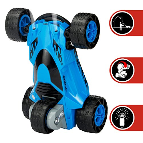 Zhencheng Five Wheels Race Stunt Car 2Wd Remote Control Rc Vehicle With Led Headlights Extreme High Speed 360 Degree Rolling Rotating Rotation Blue