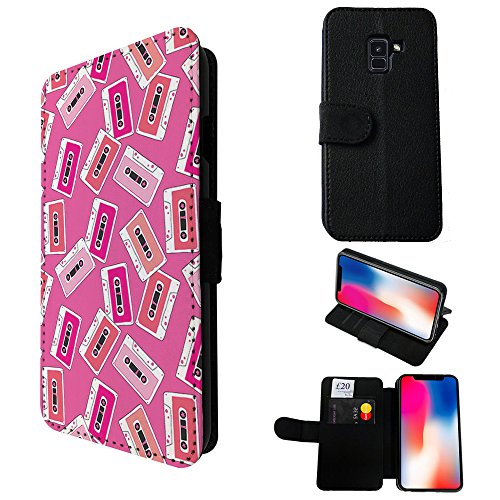 002661 - Collage Vintage Mix Tag Retro Design Samsung Galaxy A5 (2018) A530F Credit Card Flip Case Purse pouch Stand (Collage Tags)