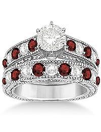 Antique Diamond and Garnet Bridal Gemstone Wedding Ring Set Hypoallergenic Palladium (3.12ct)