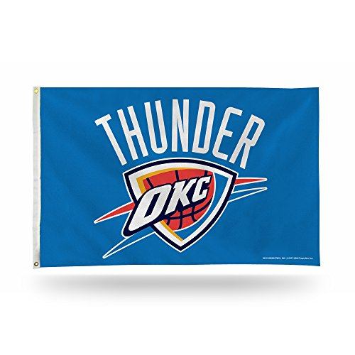 Rico Industries NBA Oklahoma City Thunder 3-Foot by 5-Foot Single Sided Banner Flag with Grommets -