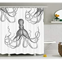 Ambesonne Kraken Decor Shower Curtain by, Sea Creatures Giant Octopus with Swirl Legs Nautical Theme Art Design Modern Print, Fabric Bathroom Set with Hooks, 70 Inches Long, White Grey
