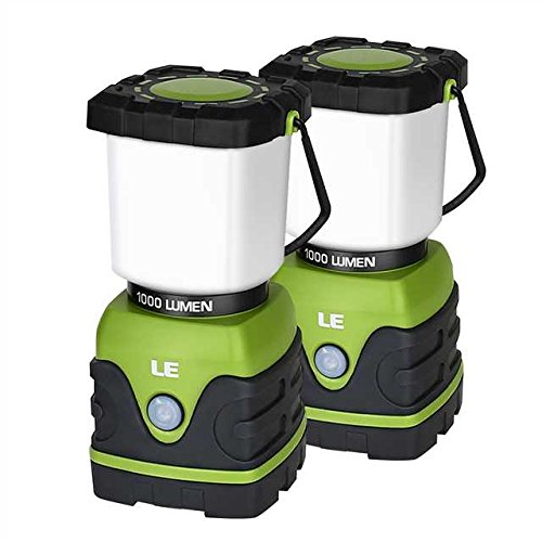 (LE LED Camping Lantern, Battery Powered LED with 1000LM, 4 Light Modes, Waterproof, Perfect lantern flashlight for Hurricane Emergency, Hiking, Home and More, Pack of 2)