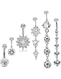 3-6PCS 14G Stainless Steel Belly Button Rings Navel Body Jewelry Belly Piercing CZ Inlaid