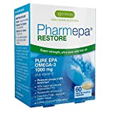 Pharmepa RESTORE Pure EPA 1000mg Omega-3 Fish Oil per Serving, Triple Strength 90% Concentration, GMP Manufactured, Bioavailable rTG Form, 60 Small Softgels, 1-month Supply