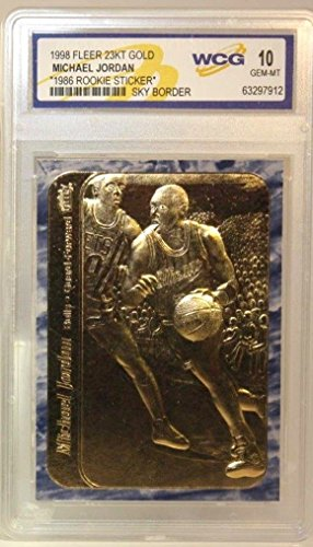 Fleer Michael Jordan 1986 23KT GEM MT-10 Gold Rookie Card! Rare Blue Border!