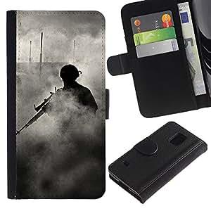 KingStore / Leather Etui en cuir / Samsung Galaxy S5 V SM-G900 / Soldado francotirador Humo