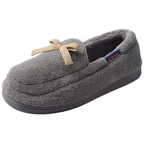 548c5a0f9 UIESUN Men Women Bowknot Loafer Slippers Super-soft Winter Warm Non-slip  Indoor Outdoor