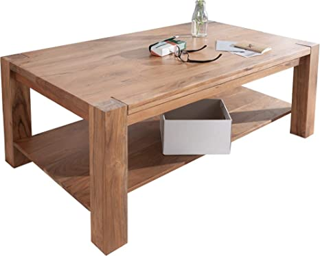 Delife Indra Living Room Table With Shelf Solid Wood Coffee Table Amazon De Kuche Haushalt