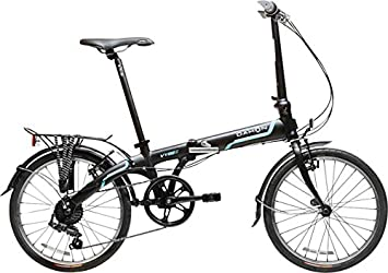 Dahon Vybe D7 Tour Obsidiana con defensas y trasero de bicicleta plegable