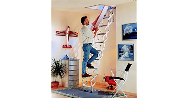 Dolle - Escalera de acordeón para ático (aluminio, 2,73 a 3,00 m): Amazon.es: Bricolaje y herramientas