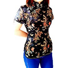 Chinese Women'S Miss Geisha Qipoa Blouse Blazer Top Shirt Costume Cosplay with Dragon patterns