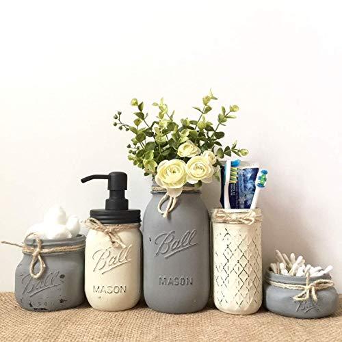 Mason Jar Bathroom Organization Set, 5 Piece Set, Your Choice of Colors, Silk Flowers Optional (Sets Accessories Bathroom French)