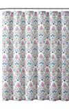 Aqua and Pink Shower Curtain VCNY Home Fabric Shower Curtain: Elegant Floral Paisley Design, Aqua Blue Lime Green Pink, 72