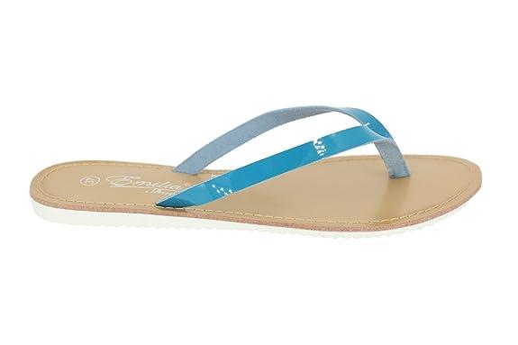 Buyazzo Damen Sommer Sandalen Sandaletten Zehentrenner Strandschuhe Slipper BAEM112 (38, Weiss)