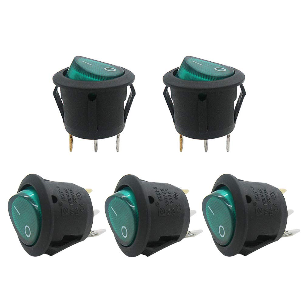 Use for Car Auto Boat Household Appliances 1 Years Warranty MXU1-5-101NG mxuteuk 5pcs Green Light Illuminated Snap-in Round Boat Rocker Switch Toggle Power SPST ON-Off 3 Pin AC 250V 6A 125V 10A