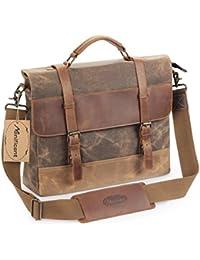 16 Inch Men's Messenger Bag, Vintage Waxed Canvas Genuine Leather Large Satchel Shoulder Bag Waterproof Canvas Leather Computer Laptop Bag, Tablet Messenger Bag, (Coffee)