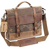 Manificent 17 Inch Men's Messenger Bag, Vintage Waxed Canvas Genuine Leather Large Satchel Shoulder Bag Waterproof Canvas Leather Computer Laptop Bag, Tablet Messenger Bag, (Coffee)