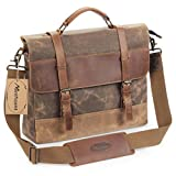 Manificent Men's Messenger Bag, 16 Inch Vintage Waxed Canvas Genuine Leather Large Satchel Shoulder Bag Waterproof Canvas Leather Computer Laptop Bag, Tablet Messenger Bag, (Brown)