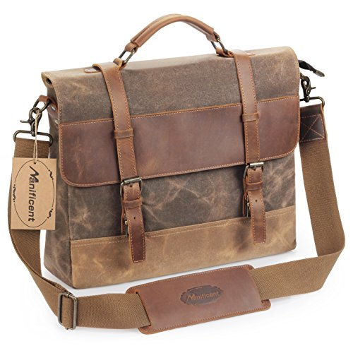 Manificent 16 Inch Men's Messenger Bag, Vintage Waxed Canvas Genuine Leather Large Satchel Shoulder Bag Waterproof Canvas Leather Computer Laptop Bag, Tablet Messenger Bag, (Coffee) (Satchel Bag)