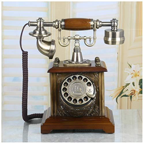 SMC Metal Rotary Dial Telephone European Living Room Bedroom Retro Fixed Telephone Landline Mahogany Thick Bracket from SMC Telephone