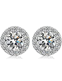 3f17ae1d8 Han han Platinum-plated Halo Stud Earrings,S925 Sterling Silver Round Cut  Cubic Zirconia