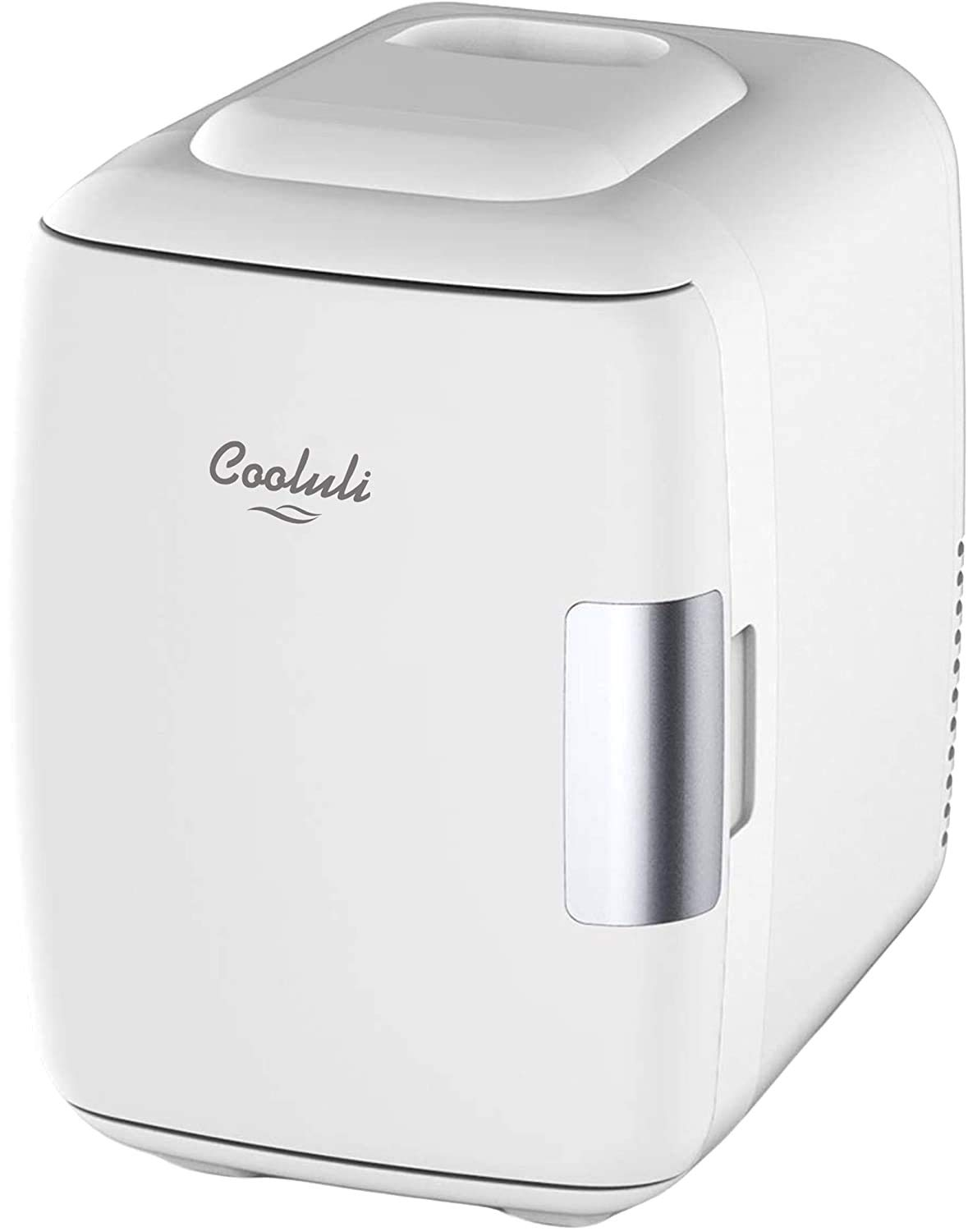 Cooluli Mini Fridge Electric Cooler and Warmer (4 Liter / 6 Can): AC/DC Portable Thermoelectric System w/ Exclusive On the Go USB Power Bank Option (White)                Mini Fridge 6 Liter Portable Beauty Makeup Skincare Fridge Cosmetics Refrigerator Compact Cooler Warmer for Bedroom, Office, Car, Dorm, Mirrored and Led Lighting Design AC/DC                Cooluli Concord Black 20 Liter Compact Cooler Warmer Mini Fridge for Bedroom, Office, Car, Dorm - Portable Makeup Skincare Fridge with Digital Temperature Control