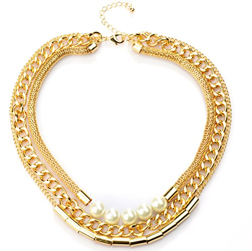 Ginasy 3 Layers Gold Plated Hollow with 5 Pearl Chain (Diy 1980's Costume)