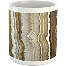 Marble Mug by Ambesonne, Onyx Marble Rock Themed Vertical Lines and Blurry Stripes in Earth Color Print, Printed Ceramic Coffee Mug Water Tea Drinks Cup, Mustard Brown
