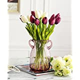 XHOPOS HOME Artificial Flowers Living Room Bedroom Glass Vase Bouquet Tulip Red A Decorative Fake Flowers For Home Party and Garden Decor