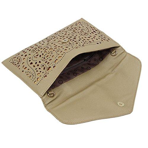 TOOGOO(R) Vintage Nacional Bolso de la tendencia de mujer Bolsa del sobre del recorte Bolsa crossbody de hombro Bolsa de mujer de embrague Azul Caqui