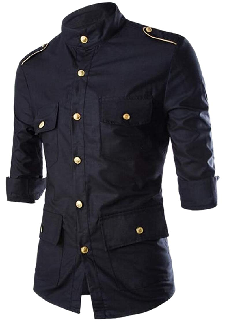 M/&S/&W Mens Casual Buttoned Vintage 3//4-Sleeves Metallic Color Western Shirt