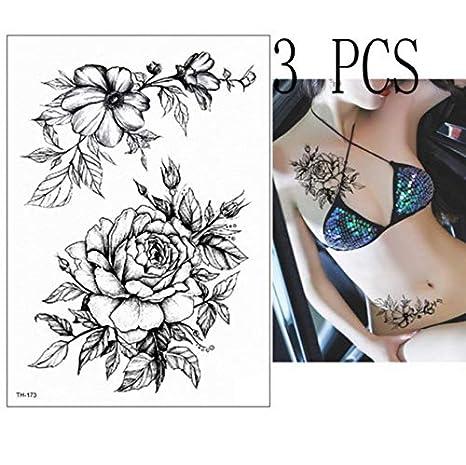 yyyDL Etiqueta engomada del tatuaje temporal tatuaje geisha torre ...