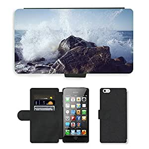 Super Stella Cell Phone Card Slot PU Leather Wallet Case // M00421706 Wave Rock Spray Wild Nature Water // Apple iPhone 5 5S 5G