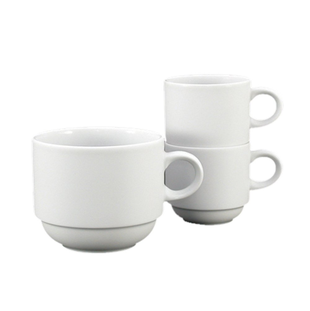 Fortessa Fortaluxe SuperWhite Vitrified China Cassia 12-Ounce Large Stackable Mug, Set of 6 Fortessa /Schott Zwiesel 6200.F0000.09.5