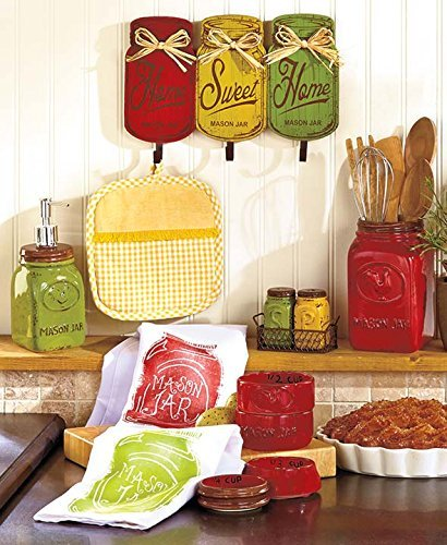 Primitive Mason Jar Red Yellow Green Collection Wall Hanger Hooks Utensil Holder Measuring Cups Salt N Pepper Shakers Soap Dispenser Pump Dish Towels Tuscan French Country Kitchen Decor Set