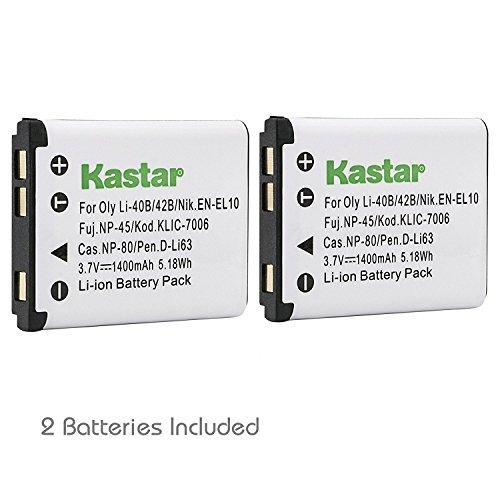 En El10 Li Ion Rechargeable Battery - Kastar 2 Pack Battery Compatible with Olympus Li-42B Li-40B Li42B Li40B FE-230 and Nikon EN-EL10 Pentax D-Li63 Fuji NP-45 NP-45A Kodak KLIC-7006